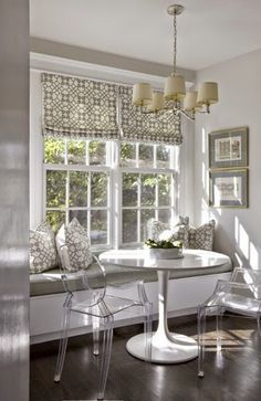 I love a window seat Gray breakfast nook, white trim, lucite chairs, built in bench Interior Design Kitchen, Decor, Interior Design, House Interior, Home, Interior, Dining Nook, Kitchen Dining Room, Home Decor
