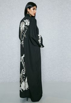 Shop Hayas Closet black Self Striped Embroidered Back Bisht AWN-400 for Women in UAE