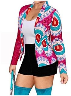 ouxiuli Womens Tropical Floral Print Pockted Bomber Jacket Coat Outwear