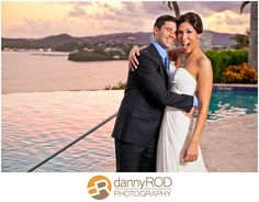 The sun begins to set as the happy couple continues their wedding celebration at El Conquistador Resort & Las Casitas Village.  ElConResort.com   destination wedding  - Puerto Rico