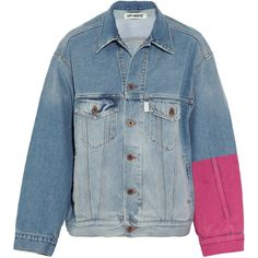 Off-White Oversized embroidered flocked denim jacket (970 CAD) ❤ liked on Polyvore featuring outerwear, jackets, denim jackets, coats & jackets, embroidery jackets, denim jacket, jean jacket, oversized denim jacket and off white jacket
