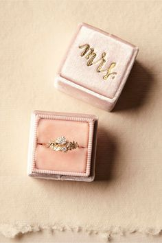 Velvet Mrs. Ring Box in Pink from BHLDN