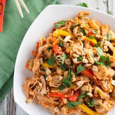 Thai Chicken Pasta with Peanut Sauce today #Ontheblog link to the post is in our profile.