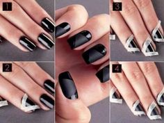 Step by step for masking off nails to create contrasting patterns using matte nail polish.