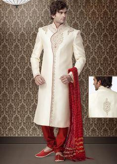 White and Off White color Sherwani in Brocade fabric , Cut Dana, Resham, Stone, Bugle Beads work..........http://bit.ly/1eadtyj