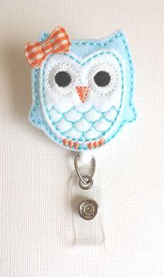 Light Blue & White Owl Felt Badge Reel by SimplyReelDesigns, $6.25
