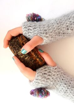 Crochet  Fingerless Glovesgray gloves with pom pomCrochet by seno, $30.00