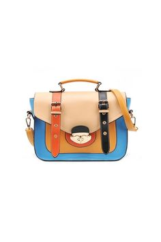 The shoulder bag crafted in PU, featuring color block design, cross lock to flap, pin buckle embellishment to main, strap to top, a detachable shoulder strap.