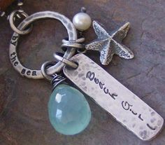 Hand stamped fine sterling silver and gem stone beach necklace