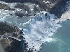 A partially frozen American Falls portion of the Niagra Falls taken during my first helicopter ride.