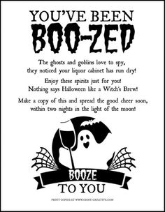 You've Been Boo-zed Free Printable. Just like the kids booed printable. It's time for the mamas to have some fun too, with this adult version of a basket of booze! What a fun Halloween Free Printable! Halloween Games, Halloween Boo, Holidays Halloween, Halloween Crafts, Happy Halloween, Halloween Decorations, Halloween 2020, Halloween Ideas, Halloween Drinks