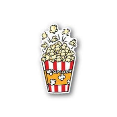 Popcorn Sticker - Vinyl Stickers are a great way to customize anything. They stick to just about anyt. Pop Stickers, Bubble Stickers, Printable Stickers, Planner Stickers, Popcorn, Logo Sticker, Sticker Design, Wort Collage, Free Watercolor Flowers