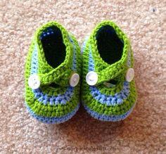Crochet Baby Booties Blue & Green Crochet Booties, Crochet Baby Booties, Newb...