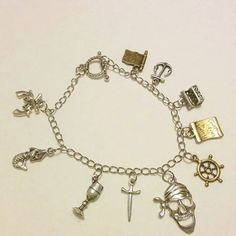 Pirates of the Caribbean fandom bracelet-jack sparrow,davey jones,swann,charm bracelet,cosplay,world's end by Blackrose37 on Etsy