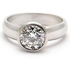 ESTATE ENGAGEMENT RING BEZEL SET DIAMOND SOLITAIRE SOLID PLATINUM