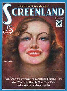 Joan Crawford - Charles Sheldon, Screenland cover art, December 1933