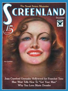 Joan Crawford - Charles Sheldon, Screenland cover art, December 1933