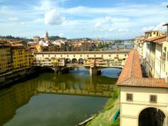 Florence, Italy. View of the Ponte Vecchio from the Uffizi Museum