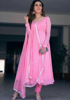Pink flaired anarkali ethnic gown readymade dress with chiffon dupatta indian womens party wedding clothes plus size available also - Readymade dress fabric flattering georgette inside lined with soft material chiffon dupatta Sizes - - Indian Fashion Dresses, Indian Gowns Dresses, Dress Indian Style, Indian Designer Outfits, Indian Outfits, Indian Long Dress, Indian Designers, Pink Gowns, Indian Clothes