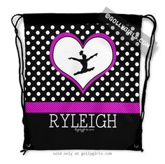 Golly Girls: Personalized Classic Polka-Dots Gymnastics Drawstring Backpack only at gollygirls.com