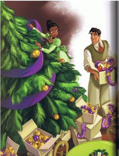 "Tiana & Prince Naveen decorate their Christmas tree (""The Princess & The Frog"") Disney Pixar, Arte Disney, Disney Fan Art, Disney Animation, Disney And Dreamworks, Disney Love, Disney Magic, Disney Wiki, Disney Characters"