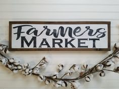 Farmers Market Sign - Wood Sign - Wooden Sign - Farmhouse Style - Kitchen Sign - Farmhouse Sign - Rustic Sign - Farmhouse - Country Decor by packratshandmade on Etsy https://www.etsy.com/listing/497478204/farmers-market-sign-wood-sign-wooden