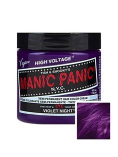 Manic Panic High Voltage Classic Cream Formula Colour Hair Dye - Violet Night If you are aimin Permanent Hair Dye Colors, Temporary Hair Color, Semi Permanent Hair Color, Hair Dye Brands, Dyed Hair Purple, Hair Color Cream, Hair Porosity, Alternative Hair, Hair