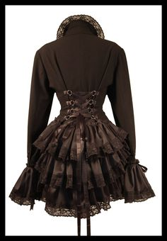 QUEEN OF THE NIGHT Gothic Steampunk Burlesque Bustle Corset Jacket Frock Coat Plus Size Victorian Vixen Couture - Lovechild Boudoir