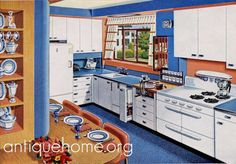 https://flic.kr/p/4mpPcP | Forget-Me-Not - Blue Kitchen Design - 1950's | Blue linoleum and matching blue Formica countertops. Red trim on the crisp  white curtains. I like that pull-out next to the sink for the dish towels and gimme that double oven!  Modern Ranch House Plans