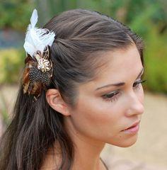 Outdoor wedding Bridal Head Piece, Brown Feather Fascinator, Hair Piece, Natural Wedding Hair Accessories, Bohemian Bride, Outdoor Wedding