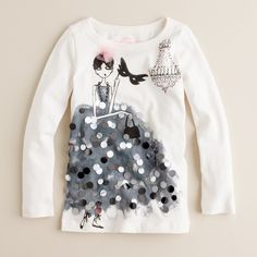 Shop the Girls' long-sleeve party girl tee at J.Crew and see the entire selection of Girls' Knits. Find Girls' clothing & accessories at J. Girls Party Dress, Baby Dress, Girls Dresses, Dress Party, Vintage Kids Fashion, Little Girl Fashion, Fashion Mode, Latest Fashion, Girls Tees