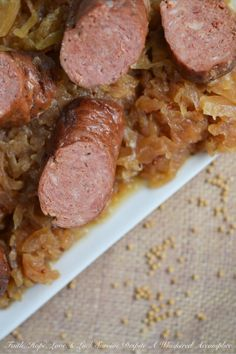 Crockpot German Sauerkraut with Brats | Faith, Hope, Love, and Luck Survive Despite a Whiskered Accomplice