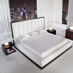 White Platform Bed with Tall Leather Headboard by ludlow King Bedroom Sets, Home Bedroom, Bedroom Decor, Queen Bedroom, Master Bedroom, Dream Bedroom, Master Suite, Platform Bedroom, Modern Platform Bed
