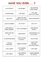 English worksheet: HAVE YOU EVER - questionnaire