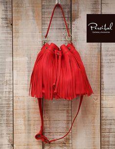 Red bucket bag, crossbody fringe bag, red fringed purse, leather bag women red