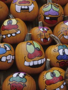 Painted Pumpkins for Halloween, Acton, Massachusetts, USA