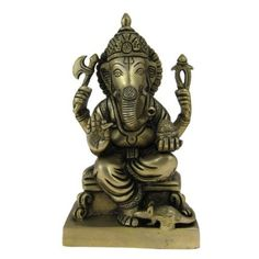 Amazon.com: Religious Gift God Ganesha Statue Brass Sculpture Hindu Art 4.5 x 3 x 8 Inches: Furniture & Decor