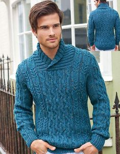 Jumper Knitting Pattern, Jumper Patterns, Knitting Patterns Free, Free Knitting, Free Pattern, Vogue Knitting, Mens Cable Knit Sweater, Men Sweater, Ribbed Sweater