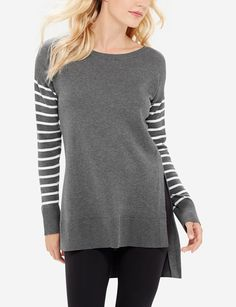 Striped Sleeve Tunic Sweater - The Limited Lounge Collection introduces versatile styles that mix and layer for undeniable chic. Whether you're cozy on the couch or busy on-the-go its comfortwear that goes anywhere.