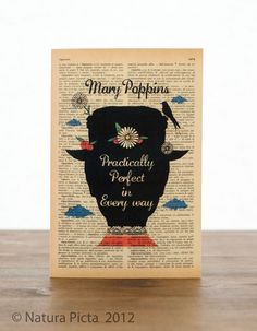 Mary Poppins practically perfect in every way Greeting Card - 4x6 inch on Ivory Paper - created by NATURA PICTA. $4.50, via Etsy.