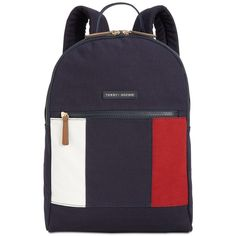 Tommy Hilfiger Th Flag Small Backpack (1.198.505 VND) ❤ liked on Polyvore featuring bags, backpacks, navy, canvas knapsack, blue backpack, blue canvas backpack, canvas bags and navy blue bags