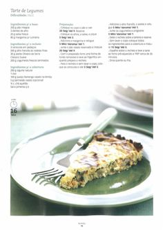 Revista bimby pt-s01-0006 - janeiro 2009 Quiches, Cooking Tips, Make It Simple, Food To Make, Food And Drink, Veggies, Low Carb, Healthy Eating, Healthy Recipes