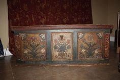 Antique German Blanket Chest Trunk Dated 1766 Hand Painted Decorated Immigrant