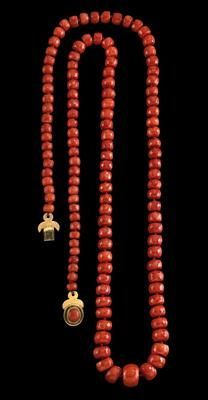 Spirited Large Chinese Carved Angel Skin Coral Dragon Bead Necklace Antiques