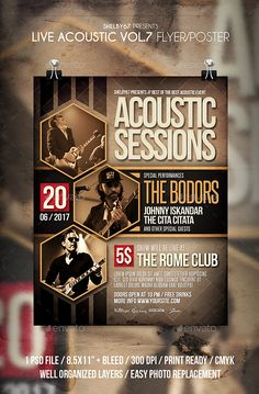 Buy Live Acoustic Flyer / Poster Vol 7 by on GraphicRiver. Live Acoustic flyer template or poster template designed to promote any kind of music event, concert, festival,. Event Poster Design, Creative Poster Design, Event Posters, Poster Designs, Movie Posters, Resume Design, Brochure Design, Event Flyer Templates, Resume Templates