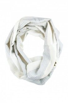 Mulu: Hand-Loomed Black and White Striped Infinity Scarf. Please?