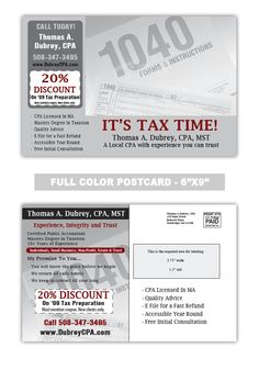 H block too accounting and tax preparation postcard samples postcard samples by industry reheart Choice Image