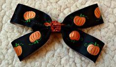 LovelyLake Halloween Pumpkin Satin Bow by LovelyLake on Etsy, $8.00
