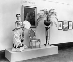 """An """"1880's"""" American Gilded Age display; furniture, paintings, costuming, at the Metropolitan Museum of Art, NYC, in c.1941. ~ {cwl} ~ (Image: Metropolitan Museum of Art)"""