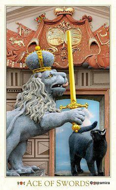 "L'as d'épées - Tarot baroque ""les chats bohèmes"" par Karen Mahony & Alex Ukolov"
